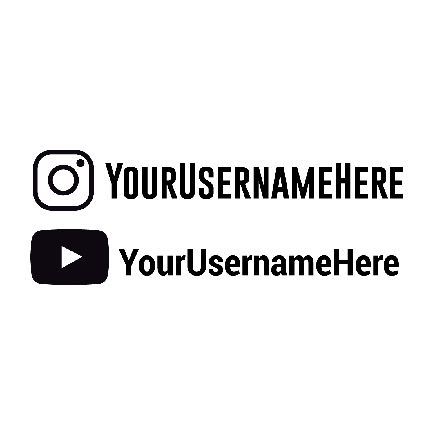 Custom youtube instagram name personalised car sticker pack decal
