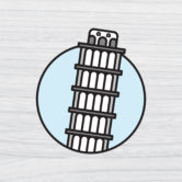 0881 Leaning Tower Of Pisa Travel Sticker 80×91 Mock Up-5